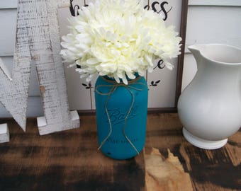 mason jar decor, painted mason jars, farmhouse decor, rustic decor,centerpiece, vases, half gallon mason jar