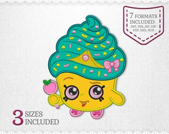 Shopkins Cupcake Queen Applique Machine Design - 3 Sizes - INSTANT DOWNLOAD - Applique, Embroidery, Designs
