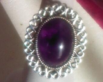 Silver plated silver adjustable cabochon ring oval 18 x 13 mm purple amethyst gemstone, silver