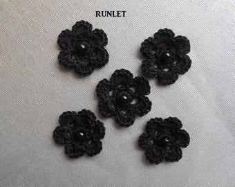 black crochet flower