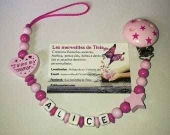 "Pacifier clip personalized ""I love my mommy"""