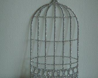 Cut bird cage silver cardboard glitter for creation