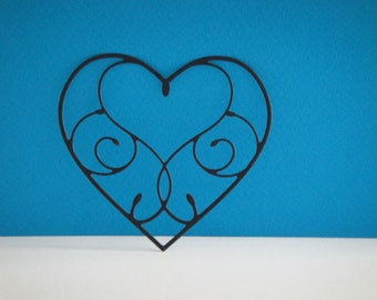 Heart cut in black heart for scrapbooking and card