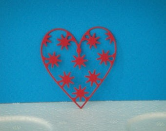 Cut little red heart for scrapbooking and card