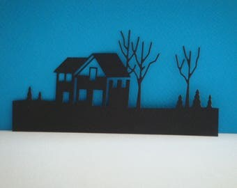 Cut black House with its landscape for scrapbooking and card