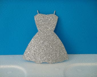 Cut silver glitter for scrapbooking or card party dress