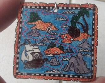 treasure map and pirate earrings