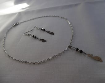 Set silver and black crystal Swarovski and stainless steel, cats on stainless steel chain.