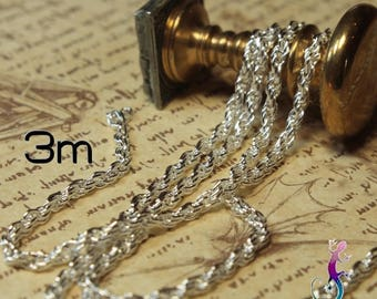 3 m 2mm silver plated braided chain