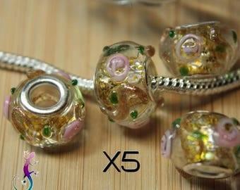 5 European beads charms pendant yellow murano lampwork glass bracelet or necklace European pandora style