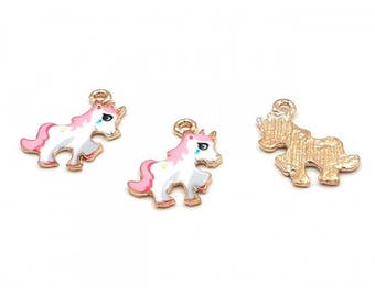 2 charms unicorns 24 x 20 mm enameled zinc alloy