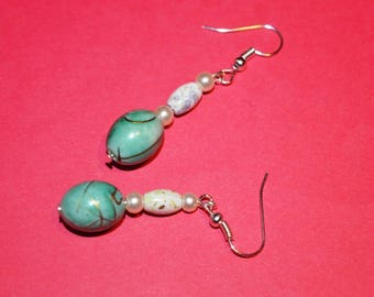 Green and gold Pearl for pierced earrings