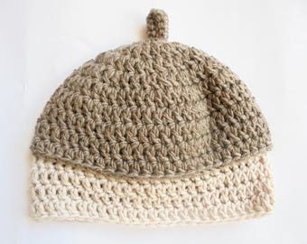 handmade acorn hat for baby in merino wool