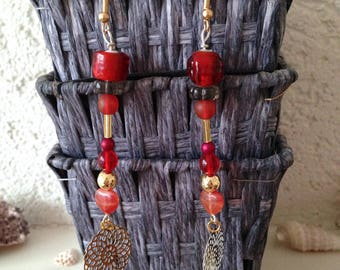 Large earrings, hooks, beads red tones and prints