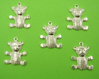 LOT 5 METALS CHARMS Silver: teddy bear 17 mm