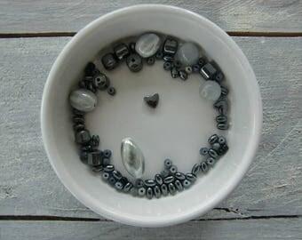 Grey mixed bead lot