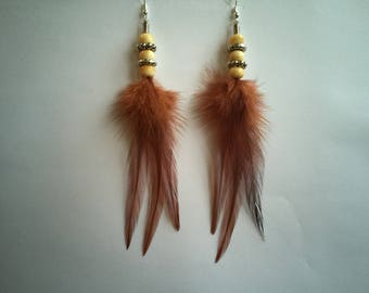 Earrings ethnic Brown supports feathers silver 15 cm