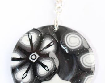 Round Medallion embossed black and white