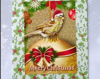 Christmas card, Merry Christmas postcard format double