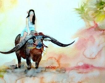 unique watercolor Buffalo