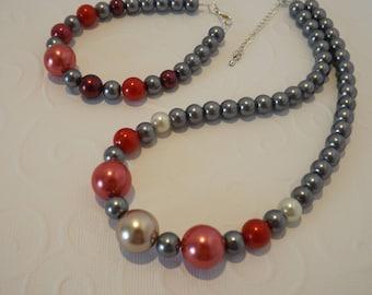 Parure de  perles nacrées - Parure de 2 pièces - collier, bracelet