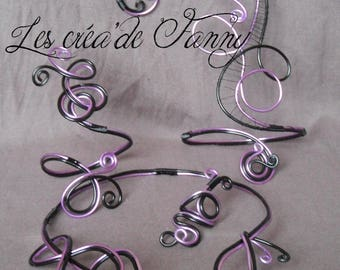 black and purple aluminum wire jewelry