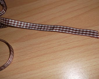 Brown and white 10mm gingham Ribbon