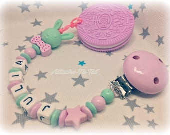 Custom clip + teether cookie smart rabbit, Star, pink and Mint.