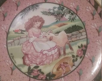 Mary Had a Little Lamb Collectors Plate, Vintage Once Upon a Rhyme Series