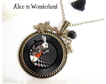 Alice in Wonderland jewels, Alice Necklace, cheshire, white rabbit, fantaisy jewel bronze, Alice rabbit, pendant