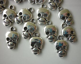 5 silver metal skull charms