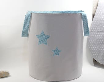 Toys, linen fabric, turquoise, gray basket bag
