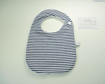 Bib birth sponge boy size 0 / 6 months, Navy blue stripes