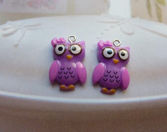 1 Purple OWL pendant in resin with piton 25x16mm