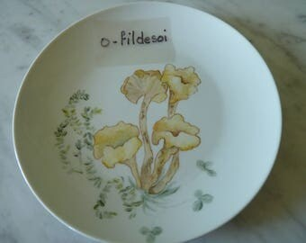 "Dessert plate porcelain decor ""Autumn"" hand painted (n ° 2)"