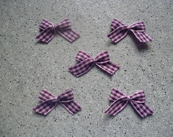 5 bows in purple gingham cotton applique