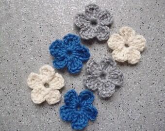 6 flowers crocheted wool handmade