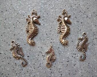 5 silver metal seahorse charms
