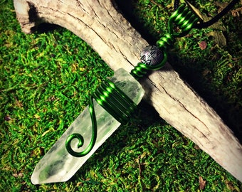 Spiral Green Wrapped Quartz Crystal Point