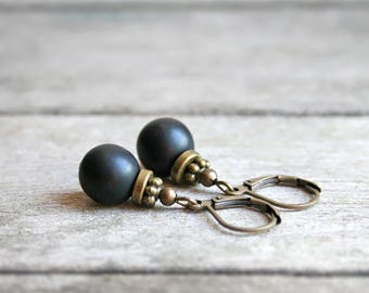 Ethnic earrings bronze and black glass beads Mat Jet - ethnic jewelry - gift jewelry - forever Joaty
