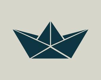 Boat stencil. Origami boat. Stencil origami (ref 444)