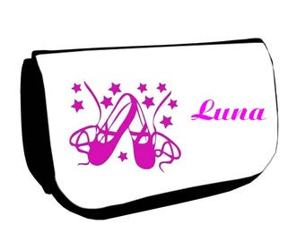 Black make-up case /crayons ballet shoes personalized with name