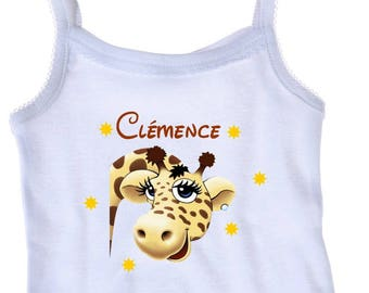 Tank top white girl giraffe personalized with name