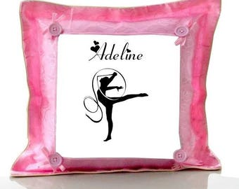 Gymnastics pink cushion personalised with name