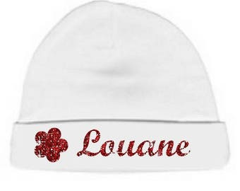 Personalized with name white flower baby Hat