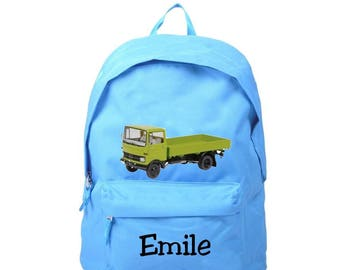 bag has blue green truck personalized with name