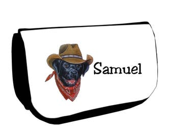 Cosmetic case Black /crayons cowboy dog personalized with name