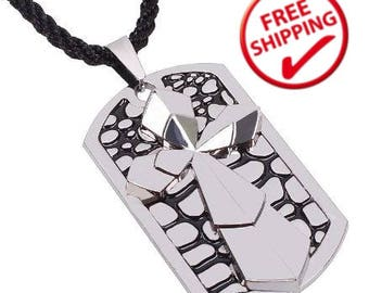 Stainless Steel Silver | Military | Army | Cross | Dog Tag Pendant Necklace