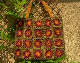 Large handbag crocheted granny-mustard-rust-khaki-plum-green light