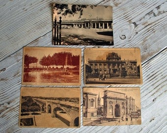 Lot of 5 Vintage French Postcards of 1930s-50s.Beautiful postcards of Montpellier